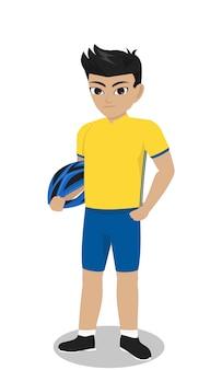 Male character mountain bike rider holding helmet