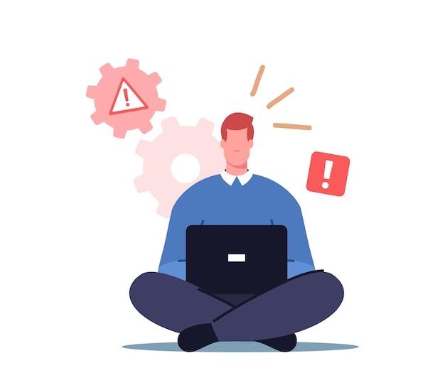男性キャラクターのオフィス ワーカーがノート パソコンに座って、pc モニターのシステム エラー通知を参照してください。