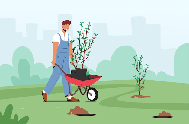 Male character planting trees seedlings to soil in garden