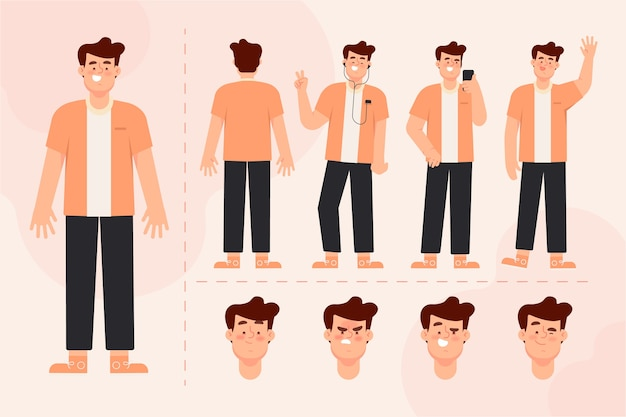 Male character poses illustration pack