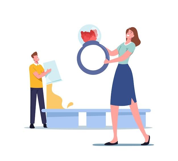 男性キャラクターは、工芸品の装飾を作るための型にエポキシ樹脂を注ぐ、巨大なリングを保持している小さな女性、手作りのジュエリー作成の趣味。クリエイティブアートのための設備を持っている人。漫画のベクトル図