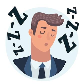 目を閉じて休んでいる男性キャラクターフラットイラスト分離