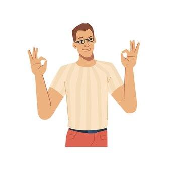 Мужской персонаж, показывающий хорошо, жестикулирующий знак