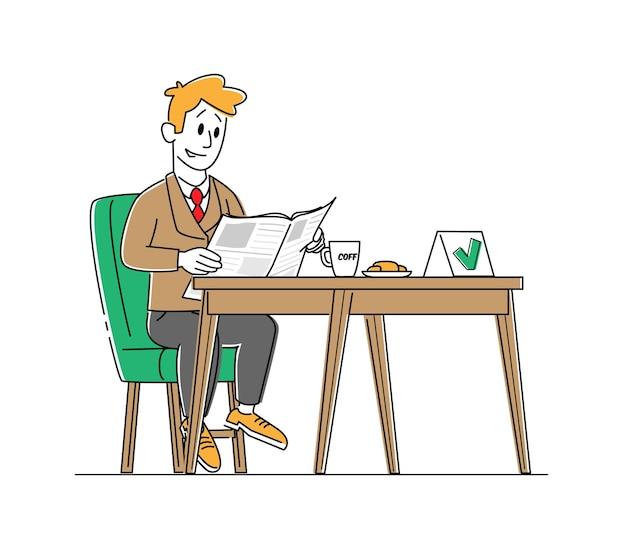 Мужской персонаж сидит за продезинфицированным столом в ресторане с зеленой галочкой