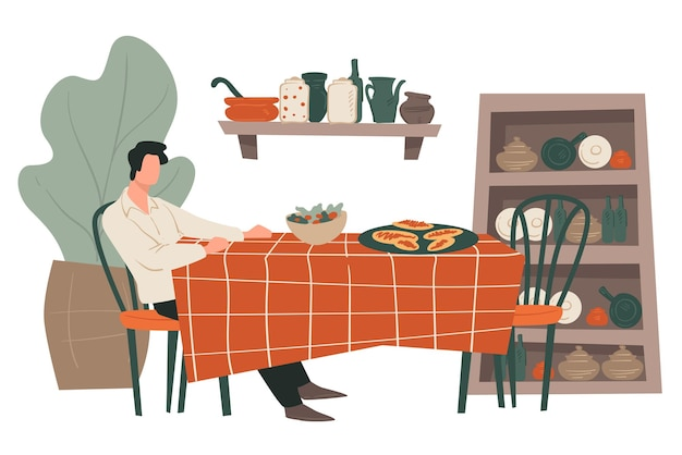 레스토랑 테이블에 앉아 있는 남성 캐릭터. 아침, 저녁 또는 점심을 혼자 먹는 남자. 선반과 찬장이 있는 카페 또는 비스트로, 잎이 있는 장식용 식물. 플랫에서 벡터