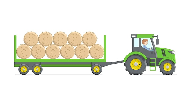 Male character sitting in the green tractor and loaded with hay trailer.