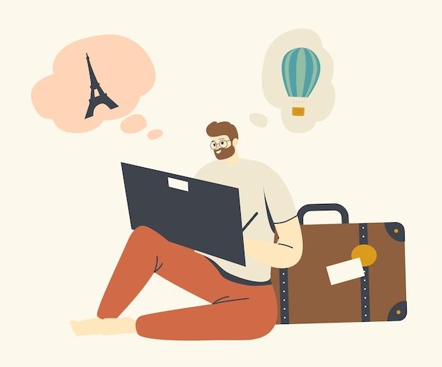 위시 맵 생성 및 꿈 실현을 위해 랜드마크를 여행하는 바닥 페인팅에 앉아 있는 남성 캐릭터