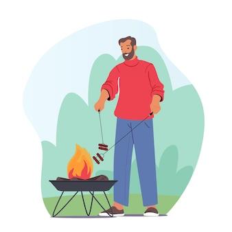 남성 캐릭터는 여름 시간에 즐거운 시간을 보내는 앞 마당의 바베큐 기계에서 고기와 소시지를 요리하는 야외 바베큐에서 시간을 보냅니다. 불에 음식을 요리 하는 아버지. 만화 사람들 벡터 일러스트 레이 션