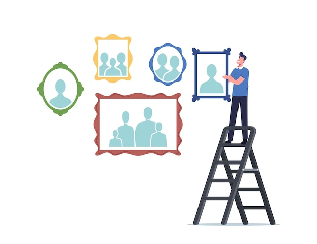 Male character stand on ladder hanging relative portraits and family photo on wall. memory, photography home collection, family relations and bonding concept. cartoon people vector illustration