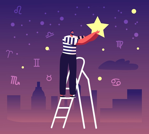 Male character stand on ladder put star on night sky with zodiac constellations. cartoon flat illustration