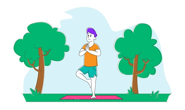 Мужской персонаж стоит на коврике на одной ноге асана занимается фитнесом