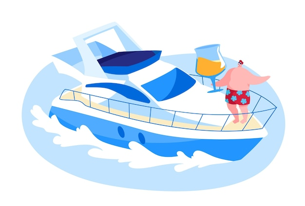 Male character traveling on luxury yacht at sea on summertime vacation