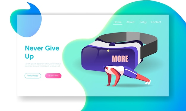 Male character in vr glasses training in virtual reality cyberspace landing page template