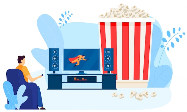 Male character watching home movie theater, big popcorn box,  on white,   illustration. man look at tv screen.