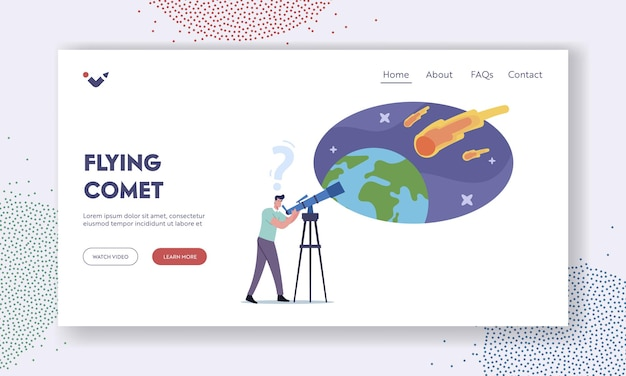 Male character watching meteorite fall landing page template. man with telescope look on natural phenomenon in sky with falling asteroid, amateur or professional scientist. cartoon vector illustration