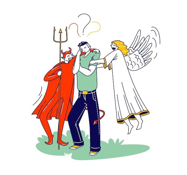 귀에 속삭이는 그의 어깨 뒤에 천사와 악마가 있는 남성 캐릭터, 머리 위에 물음표. 도덕적 딜레마를 가진 남자는 복잡한 결정, 솔루션을 만듭니다. 선형 사람들 벡터 일러스트 레이 션