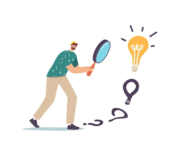 Male character with huge magnifier in hands finding answer walking to huge light bulb. businessman search creative idea, business vision, educational insight or motivation. cartoon vector illustration