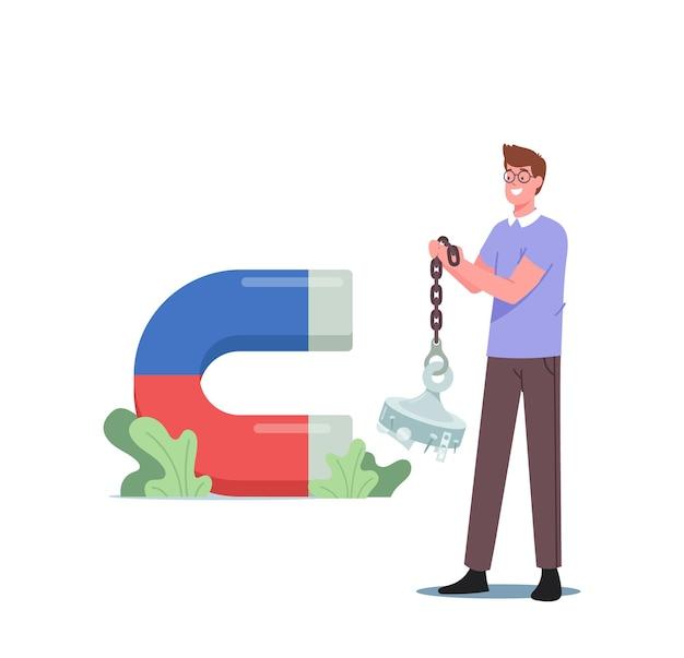 巨大なネオジムの丸い磁石ディスク、赤と青の部分を持つ磁気馬蹄形磁石、磁気を持つ男性キャラクター