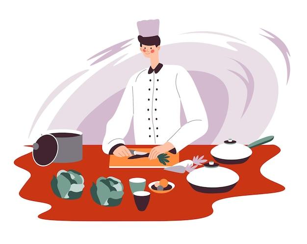 레스토랑이나 식당, 비스트로 또는 피자 하우스에서 요리사로 일하는 남성 캐릭터. 맛있는 음식을 준비하기 위해 야채, 재료가 있는 식탁, 주방용품을 자르는 남자. 평면에서 식사 준비 벡터