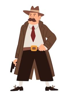 형사 또는 수사관으로 일하는 남성 캐릭터는 긴 빈티지 코트를 입고 총을 들고, 수사관 또는 경찰은 사건 수사에서 범죄자를 수색합니다. 평면 스타일의 벡터