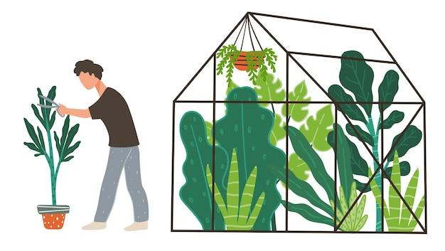 식물을 돌보는 오렌지 공장에서 일하는 남성 캐릭터. 화분에서 자라는 생물 다양성이 있는 온실. 화분에 심은 식물 관리. 실내 재배 및 유기농 식품. 식물학이 있는 온실. 평면 스타일의 벡터