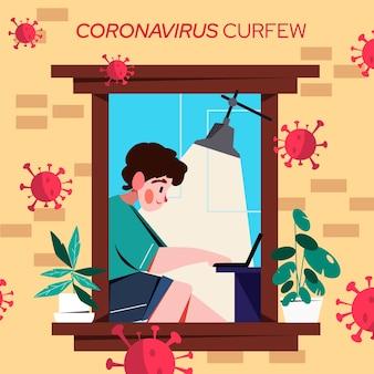 ノートパソコンのコロナウイルス門限に取り組んでいる男性キャラクター