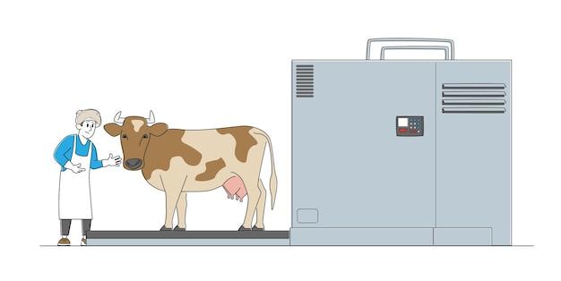 Мужской персонаж работает на мясокомбинате.