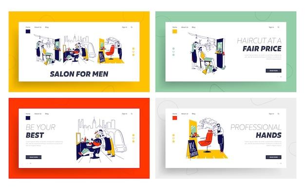 Персонажи мужского пола в наборе шаблонов страницы посадки уличного парикмахера.