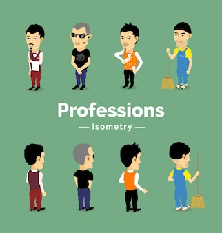 Male characters of different professions: bartender, security guard, waiter, cleaner