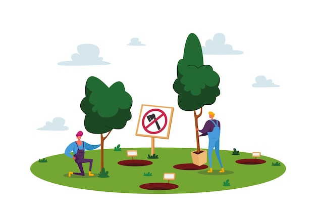 Male characters planting seedlings and trees into soil in garden