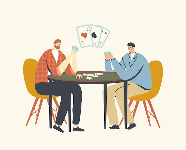 Male characters playing cards sitting at table in casino
