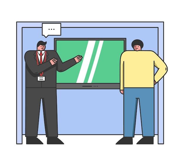 Персонажи мужского пола, стоящие с промо-стендом, большой телевизор на стене