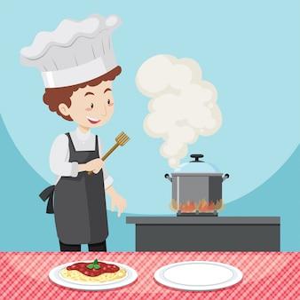 파스타를 요리하는 남자 요리사