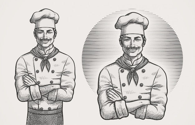 Male chef hatching illustration