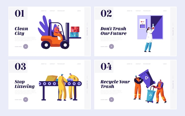 Male clean trash to reduce littering set landing page.