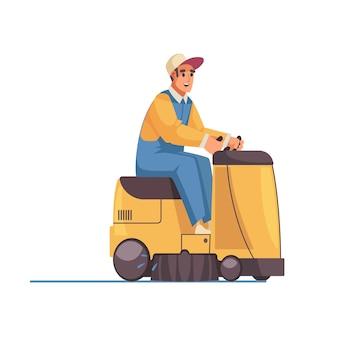 床掃除機の男性クリーナーキャラクター