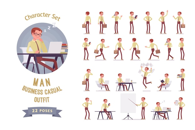 Male clerk in the office ready-to-use character set illustration