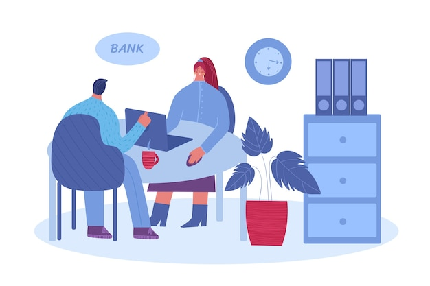 Male client talking to a manager. bank employee advises a man. illustration on a white background.
