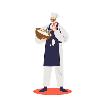 Male confectioner making dough or cream in bowl mixing ingredients illustration