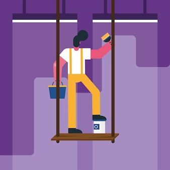 Male constructor worker remodeling painting in scaffold vector illustration design