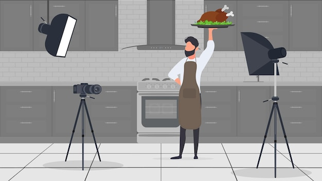 A male cook in the kitchen has a culinary blog. the guy in the kitchen apron is holding fried chicken. vector.