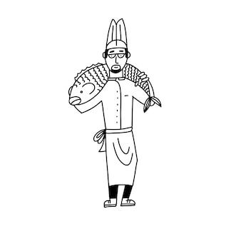 彼の肩に巨大な魚と男性料理人漫画落書きキャラクター棒人間フラットイラスト