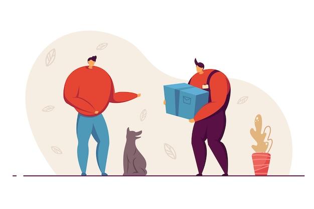 고객에게 소포 상자를 배달하는 남성 택배. 온라인 상점에서 제품을 받는 개가 있는 남자. 평면 벡터 일러스트 레이 션. 배달 서비스, 웹사이트 디자인을 위한 온라인 쇼핑 개념, 방문 페이지
