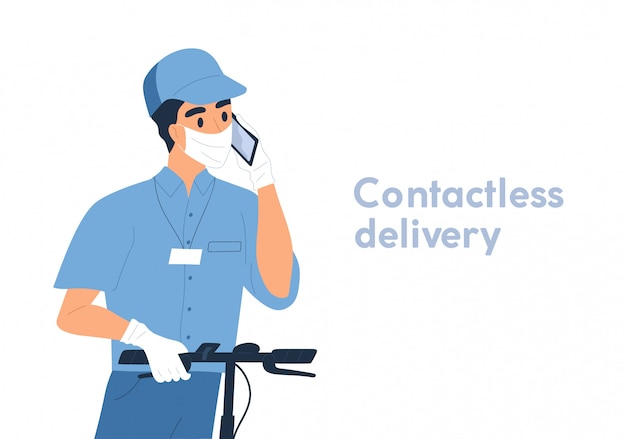 Мужской курьер в маске и перчатки безопасности на беседе самоката пинком использует иллюстрацию вектора smartphone плоскую. укомплектуйте личным составом работника безконтактного клиента звонка обслуживания поставки изолированного на белизне. безопасная доставка