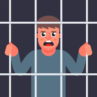Мужской преступник за решеткой. человек в тюрьме. плоская иллюстрация.