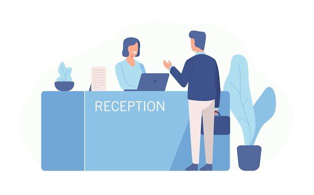 男性客が受付に立ち、女性受付係と話している。白い背景で隔離されたサービスセンターへの訪問のシーン。フラット漫画スタイルのカラフルなベクトルイラスト。