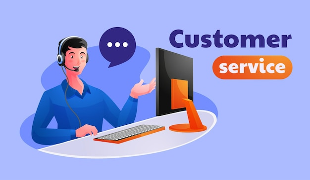 Male customer support executive working in office