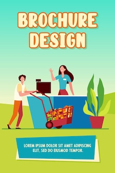 Male customer wheeling shopping cart to cash register. cashier, checkout, person buying food flat vector illustration