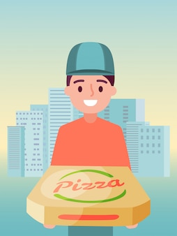 Male delivery food service, man character supplier hold pizza   illustration. young person in company cap work italian pizzeria.