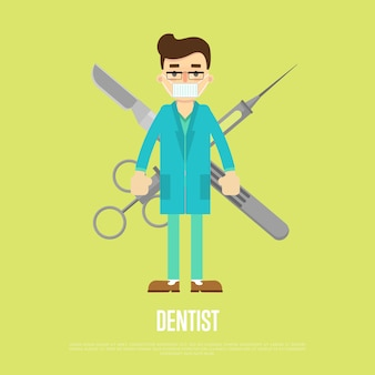 Male dentist with professional equipment